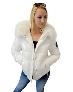 Women's Short White Quilted Winter Jacket with Raccoon Fur Hood Trim Puffer Coat