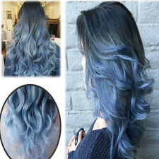 Women's Ladies Ombre Wig Grey Black Blue Long Wavy Synthetic Wig New Hot US