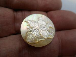 "Odin & Ravens Huginn and Muninn Carved MOP Pearl New Button 7/8"" NP"
