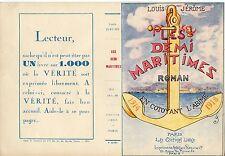 COUVERTURE DE LIVRE LES DEMI MARITIMES / LOUIS JEROME / ROMAN 1914/1918