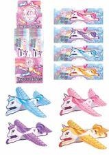 4 Unicorn Flying Plane Gliders -Polystyrene Pinata Toy Party Bag Stocking Filler