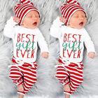 3x Newborn Infant Baby Boy Girl Outfits Clothes Set Bodysuit Pants Leggings Hat