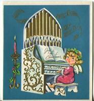 VINTAGE CHRISTMAS PINK ANGEL GIRL GOLD WHITE BLUE EMBOSSED ORGAN GREETING CARD