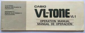Casio VL-1 Vl-Tone Mini Tastatur Original Betrieb Owner's Handbuch Broschüren