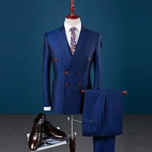 Mens Double Breasted Suit 3PCS Formal Business Wedding Britain Style Blazer Coat