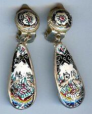 Vintage Persian Enamel Mina Karee Clip Earrings Birds Deer 1463