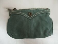 "Gap Jeans 100% Cow Leather Wristlet Pouch Small Bag Green Zip Close 7.5"" x 5"""