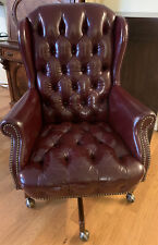 Vintage Burgundy Leather Office Chair Tufted Chesterfield Wingback by St.Timothy
