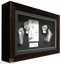 New 3D Large Baby Casting Kit + Dark Wood Cushion Deep Box Frame Keepsakes Gift