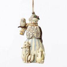 Jim Shore White Woodland Snowman w/Animals Ornament ~ 4051541