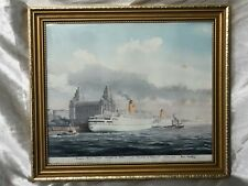 Artwork RMS Empress of England & Britain Liner Ships & Tug Boats River Mersey