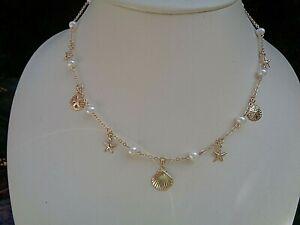 Gold Kette, 585 Gold Filled, mit Perlen und Ozean-Charms