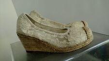 Stuart Weitzman Caye Abby Girl's Platform Wedge Heels Shoes,Off-White,Sz:13