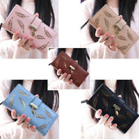 Fashion Women Leaf Hollow Lady Long Wallet Phone Case Big Capacity Purse Bag New
