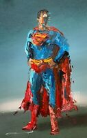 ORIGINAL Abstract Classic Superman Superhero Comic Pop Art Painting 11x17""