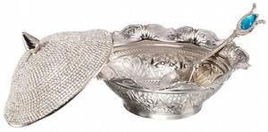 Swarovski Crystal Coated Handmade Sugar Candy Bowl Serving Dish Lid Spoon Silver