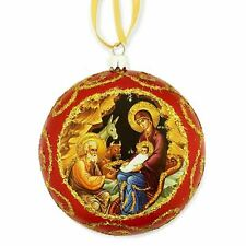 """Red Religious Christmas Ornament Traditional Byzantine Icon of the Nativity 5"""""""