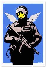 "BANKSY FLYING COPPER ANGEL *FRAMED* CANVAS ART Graffiti Art - 18x12"""