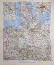 1943 MAP NORTH WESTERN GERMANY HAMBURG BREMEN OLDENBURG SCHLESWIG HOLSTEIN