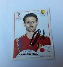 Panini Sticker WM 2018 signiert Nacho Monreal Spanien  NEU