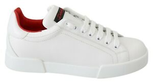 DOLCE & GABBANA Shoes White Red Leather Casual Sneakers Womens EU38.5 / US8