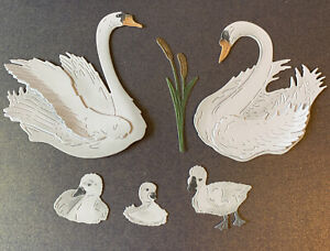 6 x Tattered Lace 3D Decoupage White Swan Signet Topper Die cuts