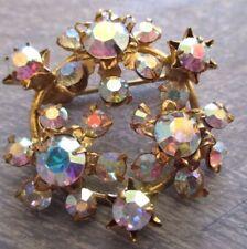 broche ancien bijou vintage ronde couleur or cristaux swarovski boréalis  3412