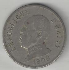 HAITI,   1908 (W)   50 CENTIMES,  COPPER NICKEL,  KM56,  FINE-VERY FINE+