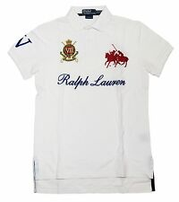 Polo Ralph Lauren Mens Custom Fit Big Pony Match Mesh Shirt White Red Navy Small