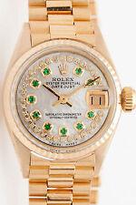 $20,000 1ct Emerald Diamond GENUINE Rolex Ladies 18k Gold President Watch & BOX