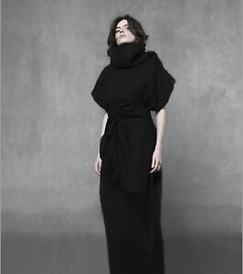 Boho gothic linen cocoon dress with raw edges and turtleneck / Linen caftan