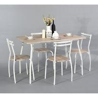 Ensemble Table à manger 120x80cm 4 Chaises MDF Métal Chêne clair Blanc Tendance