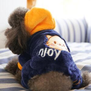 Classic Cartoon Winter Small Dog Clothes Pet Puppy Warm Vest Fleece Cat Hooded