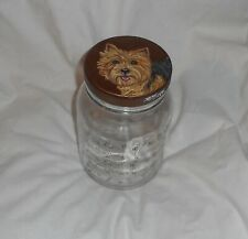 Norwich Terrier Dog Hand Painted Glass Cookie Treats Jar Container Wooden Lid