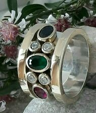 AAA QUALITY STERLING 925 SILVER JEWELRY EMERALD-SAPPHIRE-RUBY-TOPAZ BAND RING