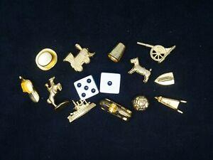 Monopoly Deluxe Edition 1998 Gold Color Game Pieces & Dice