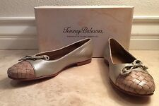 TOMMY BAHAMA Pearlized Gold Tan Leather St.Croix Woven Cap Toe Ballet Flat 8.5B