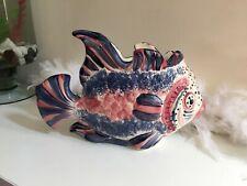 Vintage posy vase, fish shape, hand painted posy vase signed Kate Original 93