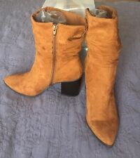 Light Brown camel color Faux Suede heels Boots Size 10 NEW