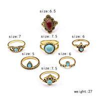 7 Pcs/set Vintage Stone Women Tribal Finger Rings Set Boho Knuckle Jewellery New
