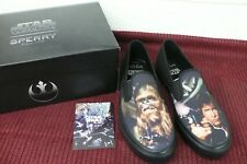 STAR WARS Han Solo/Chewbacca SPERRY SLIP ON Shoes New In Box Size 9.5 NIB Comfy!