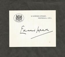 Hand Signed DOWNING STREET Card EDWARD HEATH British Prime Minister + my COA
