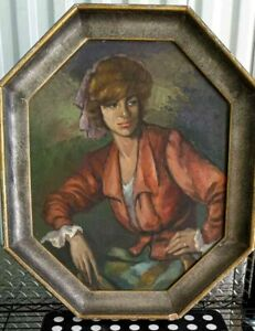 """Portrait of girl, pastel painting on board, 18"""" x 14.75"""", unsigned, framed."""