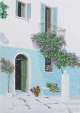 European art canvas print landscape house cityscape signed