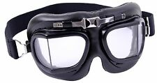WWI Open-Cockpit Aviator-Style Goggles Replica - Black Steel Air Force Glasses