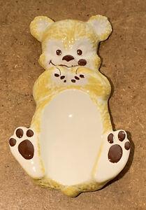 Vintage Spoon Rest Ceramic Golden Honey Bear, Smiling Bear 1960's MCM Kitsch