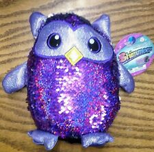 """New SHIMMEEZ Oliver the Owl 8"""" Purple & Silver Sequin Plush Toy"""