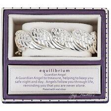 ANGEL WINGS Diamante Bracelet Silver Plated Stretch Bangle Guardian Angel