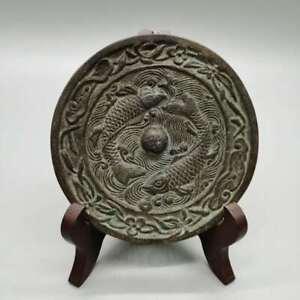 "4.4"" Collect China Bronze Ancient Decorative Two Fish Plum Blossom Bronze Mirror"