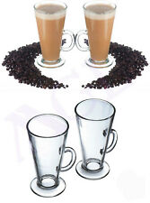 4 X 300ml Glasses Cups Mugs for Irish Coffee or Latte Cappucino With Spoons